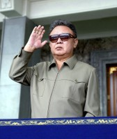 North Korean leader Kim Jong-il looks at soldiers taking part in a military parade in Kim Il-Sung Square in Pyongyang